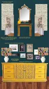 design work a dramatic living room in dark teal pink and mustard