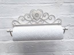 shabby chic kitchen roll holder towel rail heart