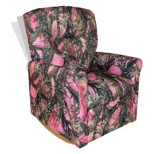 pink kids rocking chair dozydotes kid recliner with cup holder camouflage pink true
