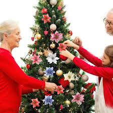 aliexpress com buy glitter poinsettia christmas tree ornaments