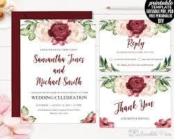 marsala watercolor flowers wedding invitation set template
