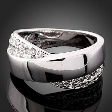 superman wedding band high quality cross design glaze rhinestones bow ring white