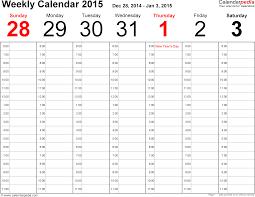 Excel Calendars Templates Weekly Calendar Excel Weekly Calendar Template