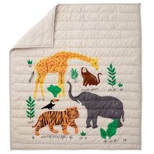 applique jungle animal baby quilt the land of nod