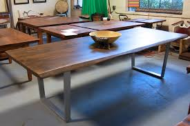 live edge table with bright steel legs lorimer workshop