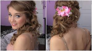 front view of side swept hairstyles side swept hairstyle back view side swept cascading curls easy
