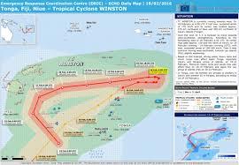 tonga map tonga fiji niue tropical cyclone winston echo daily map 18