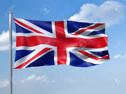 an image of the uk flag in the blue sky stock photo picture and
