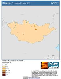 Mongolia Map Maps Population Density Grid V3 Sedac