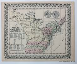 Map Of New England Colonies by 1776 Map Of The Original Thirteen Colonies Antique Maps And