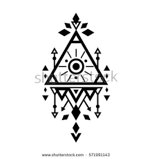 sacred geometry symbol esoteric tribal aztec stock vector