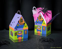 haunted house treat boxes instant download diy foldable paper