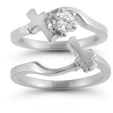 christian engagement rings cross engagement and wedding ring bridal set in 14k white gold