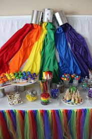 rainbow paint backdrop at an art birthday party see more party ideas at catchmyparty