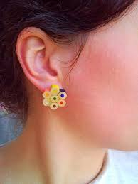 creative earrings colored pencil crayon plugable stud flower earrings