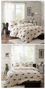 dachshund wiener dog print bedding full queen king comforter or