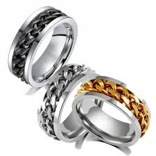steel male rings images Hot sale gold silver 2 colors chain rotation men ring stainless jpg