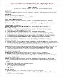 Teacher Resume Samples And Writing by Educational Resume Template Experienced Elementary Teacher Resume