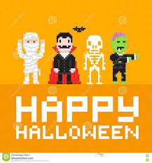 pixel art happy halloween vector illustration stock vector image