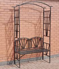 metal garden arch with 2 seater bench