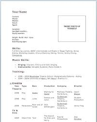 Resume Template For Actors by Free Acting Resume Template Actors Templates Theatre