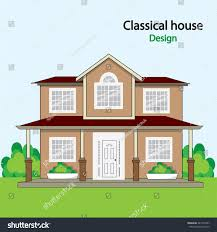 Classical House Design Classical House Design Flat Style Vector Stock Vector 443777407