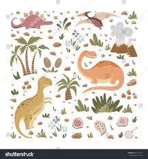 vector funny dinosaurs palms volcano stock vector 614615816