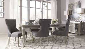 Black Modern Dining Room Sets Coralayne Silver Rectangular Extendable Dining Room Set From