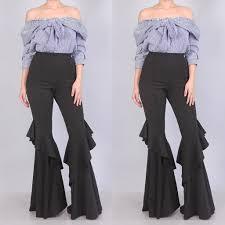 High Waist Bell Bottom Jeans Buy Black High Waist Ruffle Bell Bottom Pants At Social Butterfly