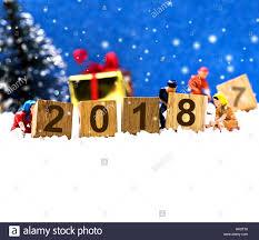 merry and happy new year 2018 winter season stock photo