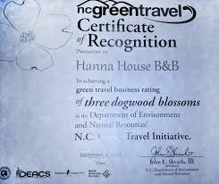 North Carolina travel partners images Green travel certificate hanna house bed breakfast jpg