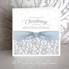 ribbon lace lace and ribbon christening invitation boy