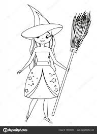 coloring page for children cute witch holding broom in
