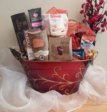 Pastry Gift Baskets Red Gold Swirl Holiday Gift Basket Lebouquet Blanc