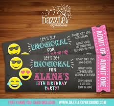 printable tween emoji chalkboard ticket birthday invitation teen