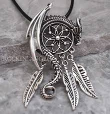 antique silver necklace pendant images Antique silver plt dragon dreamcatcher pendant necklace viking jpg