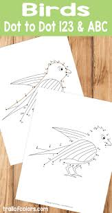 printable dot to dot bird coloring pages trail of colors
