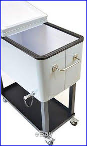 metal ice chest patio cooler cart metallic silver ice chest 80