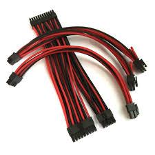corsair sf600 premium single sleeved modular cable set black red