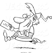vector of a cartoon christmas elf running with a letter for santa