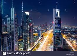 dubai modern city skyline view at sunset night with copy space