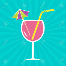pink martini drinks pink cocktail glass with drinking straw and umbrella sunburst