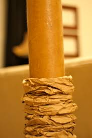 make a palm tree using a pool noodle paper bags and cardboard