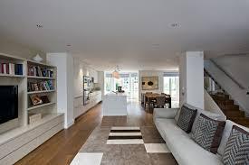 contemporary open floor plans open floor plan stair living room contemporary with wood floor