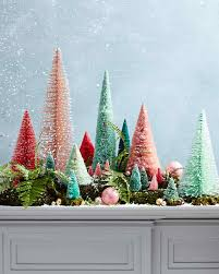 miniature christmas tree mantel display