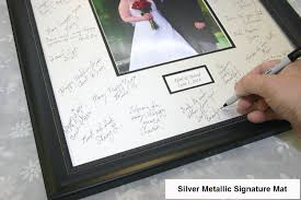 personalized wedding autograph frame silver signature mat with wood frame personalized for