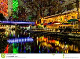 the riverwalk at san antonio texas at night stock photo image