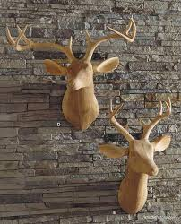 wooden stag wall roost carved wood deer facing right deer trophy