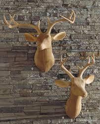 roost carved wood deer facing right deer trophy