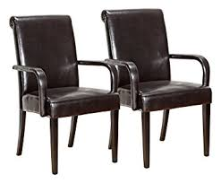 Kitchen Chairs With Arms by Amazon Com King U0027s Brand Set Of 2 Espresso Parson Chairs With Arms